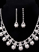 cheap -Women's Jewelry Set Bridal Jewelry Sets Simple Fashion Wedding Evening Party Silver Plated 1 Necklace Earrings