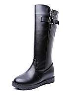 Mujer Zapatos Cuero Patentado Otoño Invierno Botas de Moda Botas de Combate Botas Tacón Robusto Hasta la Rodilla Para Casual Negro Morrón