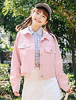 Women's Going out Simple Casual Spring Fall Denim Jacket,Solid Shirt Collar Long Sleeve Short Cotton Spandex