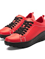 Women's Shoes PU Fall Winter Comfort Novelty Light Soles Sneakers Round Toe For Casual Outdoor Red Black White