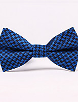Men's Rayon Cotton Blend Bow Tie,Grid Jacquard All Seasons