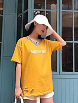 Women's Daily Cute Casual T-shirt,Letter V Neck Short Sleeves Cotton
