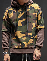 Men's Plus Size Daily Plus Size Casual Hoodie Camouflage Hooded Micro-elastic Cotton Acrylic Polyester Long Sleeve Spring Fall