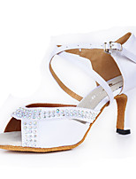 Women's Latin Silk Heel Indoor Crystal Buckle High Heel White Customizable