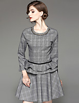 EWUS Women's Going out Casual/Daily Street chic Fall Blouse Skirt Suits,Plaid/Check Round Neck ¾ Sleeve Beaded