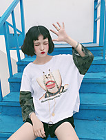 Women's Going out Cute Casual T-shirt,Print Round Neck Short Sleeves Cotton