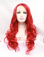 Women Synthetic Wig Lace Front Medium Length Long Curly Wavy Natural Wave Loose Wave Red Lolita Wig Party Wig Celebrity Wig Halloween Wig