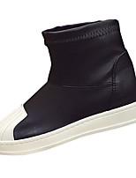Для женщин Обувь Полиуретан Осень Удобная обувь Мокасины и Свитер На низком каблуке Круглый носок Комбинация материалов Назначение