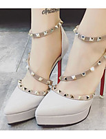 Women's Shoes PU Spring Fall Basic Pump Heels For Casual Blushing Pink Red Gray Black White