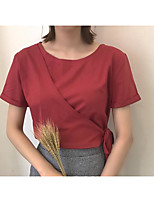 Women's Daily Going out Casual Summer T-shirt,Solid Round Neck Short Sleeves Cotton Linen Medium