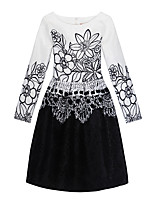 Girl's Daily Holiday Print Dress,Cotton Polyester All Seasons Long Sleeve Cute Casual Black