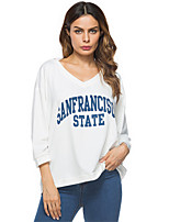 T-shirt Da donna Per eventi Casual Semplice Moda città Primavera Inverno,Alfabetico A V Cotone Manica a 3/4 Medio spessore