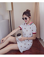 Women's Daily Casual T-shirt,Print Shirt Collar Short Sleeves Cotton