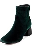 Feminino Sapatos Flocagem Inverno Botas da Moda Botas Salto Grosso Ponta quadrada Botas Cano Médio Para Casual Preto Vermelho Verde