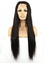 Donna Brasiliano Cappelli veri 360 frontale 150% Densità Con ciuffetti Onda naturale 360 Frontale Dritto Parrucca Nero Nero Pantaloncini