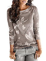 Women's Daily Going out Casual Street chic Spring Fall T-shirt,Print Round Neck Long Sleeves Polyester Medium