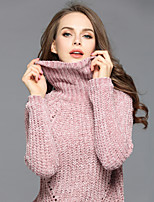 EWUS Women's Casual/Daily Regular Pullover,Solid Turtleneck Long Sleeves Polyester Fall Medium Stretchy