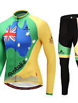 Miloto Cycling Jersey with Tights Men's Bike Clothing Suits Stretchy Autumn/Fall Winter Cycling/Bike Green/Yellow