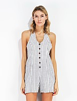 Women's Going out Casual/Daily Simple Summer Shirt Pant Suits,Striped U Neck Sleeveless Inelastic