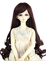 Women Synthetic Wig Capless Long Curly Dark Auburn Doll Wig Costume Wig