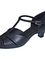 Women's Latin Faux Leather Sandal Heel Professional Buckle Customized Heel Black 1