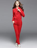 Sweat à capuche Pantalon Costumes Femme,Couleur Pleine Sortie Décontracté / Quotidien Tenue Automne Manches longues Col de Chemise