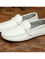 Men's Shoes Cowhide Spring Fall Light Soles Loafers & Slip-Ons For Casual White Black Blue Dark Brown