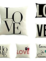 Set Of 6 Customize Creative Love Printing Cotton/Linen Pillow Case Sofa Pillowcase 45*45Cm