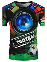 Для женщин На каждый день Футболка Круглый вырез,Активный С принтом С короткими рукавами,Полиэстер