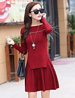 Women's Daily Casual Spring Fall Blouse Skirt Suits,Solid Boat Neck Long Sleeve Stretch Yarn