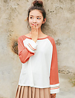 Women's Daily Cute T-shirt,Color Block Round Neck Long Sleeves Cotton