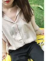 Women's Holiday Work Cute Casual Fall Shirt,Solid Stand Long Sleeves Cotton