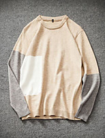 Men's Casual/Daily Simple Regular Pullover,Color Block Round Neck Long Sleeves Cotton Fall Medium Micro-elastic