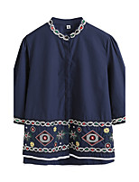 Women's Going out Vintage Chinoiserie Shirt,Solid Print Embroidery Round Neck 3/4 Length Sleeves Cotton