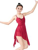 Danse classique Robes Femme Enfant Spectacle Élastique Lycra Plissé Paillette Sans manche Taille moyenne Robes Coiffures