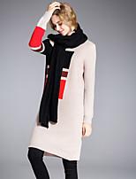 Fodero Vestito Da donna-Per eventi Per uscire Moda città Sofisticato Monocolore Rotonda Sopra il ginocchio Manica lunga Poliestere Nylon