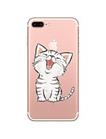 baratos -Capinha Para Apple iPhone X iPhone 8 Transparente Estampada Capa traseira Gato Macia TPU para iPhone X iPhone 8 Plus iPhone 8 iPhone 7