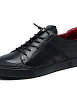 Для мужчин обувь Наппа Leather Зима Удобная обувь Кеды Шнуровка Назначение Черный