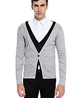 Men's Casual/Daily Simple Regular Cardigan,Color Block V Neck Long Sleeves Polyester Fall Medium Micro-elastic