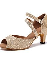 Women's Latin Sparkling Glitter Glitter Sandal Heel Sneaker Indoor Sparkling Glitter Paillette Cuban Heel Silver Gold 2