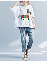T-shirt Da donna Casual Semplice Animal Rotonda Cotone Mezza manica