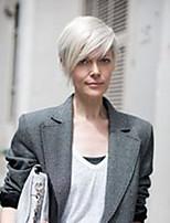 Women Human Hair Capless Wigs Silver Black Short Side Part Hot Sale