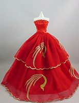 Party/Evening Dresses For Barbie Doll RedGolden Dresses For Girl's Doll Toy