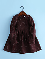 Girl's Birthday Daily Going out Holiday Solid Dress,Polyester Winter Fall Long Sleeve Outdoor Cute Style Brown Navy Blue