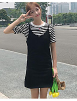 Women's Going out Casual/Daily Street chic Summer T-shirt Skirt Suits,Striped Round Neck Short Sleeve