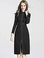 Women's Holiday Club Vintage Chinoiserie Sheath Dress,Solid Stand Knee-length Long Sleeves Cotton Polyester Fall Mid Rise Micro-elastic