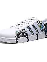 Men's Shoes PU Spring Fall Comfort Sneakers Lace-up For Casual Black Dark Blue Blue Black/White