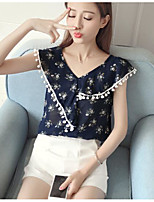 Women's Casual/Daily Simple Blouse,Solid Print V Neck Short Sleeves Polyester