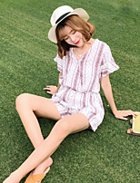 Women's Casual/Daily Simple Summer Shirt Pant Suits,Striped Round Neck Short Sleeve