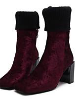 Mujer Zapatos Punto Terciopelo Otoño Invierno Botas de Moda Botas de Combate botas slouch Botas Tacón Robusto Dedo cuadrada Mitad de
